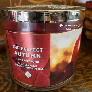 BBW The Perfect Autumn 3 wick candle. NEW. 101C